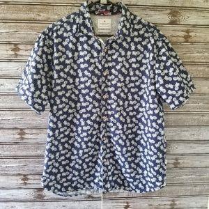 Men's Denim & Flower Pineapple Button-down Shirt